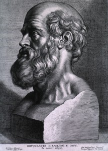 Hippocrates engraving of a bust