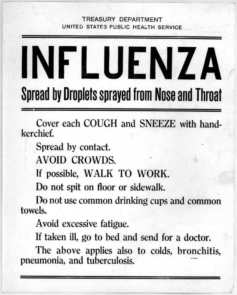 Spanish flu poster giving instructions to reduce spread
