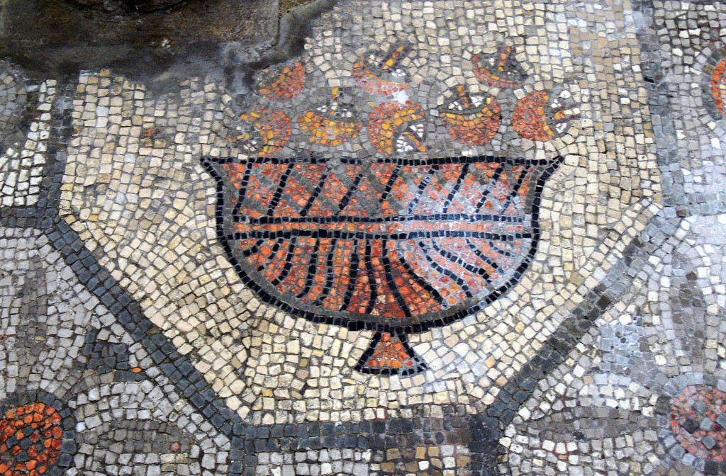 An ancient Roman mosaic in Aquileia (Italy). The ancient Romans favoured Amanita caesarea (Caesar's mushroom) for food.